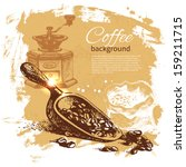 hand drawn vintage coffee... | Shutterstock .eps vector #159211715