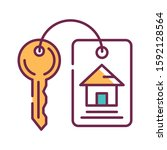house keys color line icon....
