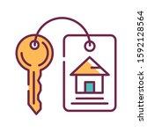 house keys color line icon....