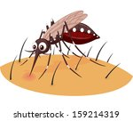 mosquito cartoon sucking blood... | Shutterstock . vector #159214319
