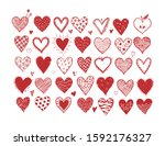 set of hand drawn red doodle... | Shutterstock .eps vector #1592176327