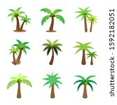 tree flat icon style.coconut... | Shutterstock .eps vector #1592182051