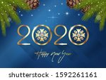 happy new year 2020. stylized... | Shutterstock .eps vector #1592261161
