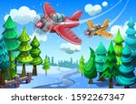 two planes fly over the winter... | Shutterstock .eps vector #1592267347