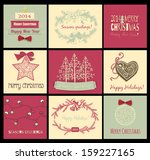 set of 9 christmas cards with... | Shutterstock . vector #159227165