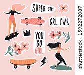 girls on skateboard  longboard... | Shutterstock .eps vector #1592272087