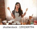 happy asian woman housewife...   Shutterstock . vector #1592309794