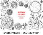 russian cuisine top view frame. ... | Shutterstock .eps vector #1592325904