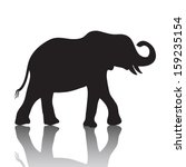 Vector Elephant Silhouette Wit...