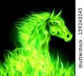 Head of green fire horse on black background. - stock vector