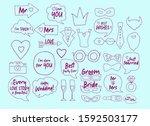 wedding photobooth props kit... | Shutterstock .eps vector #1592503177