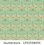 floral seamless fabric pattern. ... | Shutterstock .eps vector #1592538454