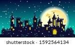 night christmas green... | Shutterstock . vector #1592564134