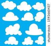 hand drawn clouds icon  vector... | Shutterstock .eps vector #1592660437