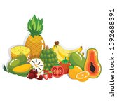 set of high vitamic c tropical... | Shutterstock .eps vector #1592688391