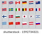 flag icon set. waving flags of... | Shutterstock .eps vector #1592734321