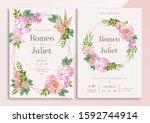 mix flowers watercolor wedding... | Shutterstock . vector #1592744914