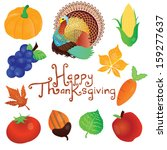 happy thanksgiving elements and ...   Shutterstock .eps vector #159277637