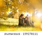 happy couple under the tree in... | Shutterstock . vector #159278111