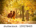 passionate love in the autumn... | Shutterstock . vector #159278405