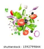 salad ingredients are flying... | Shutterstock . vector #1592799844