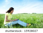 pretty woman with laptop on the ...   Shutterstock . vector #15928027