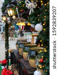 """Christmas market in Europe. Debrecen, Hungary. In the photo there is an inscription in Hungarian """"Karácsonyi puncs"""" which means - """"Christmas punch"""""""