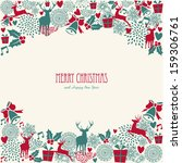 merry christmas holiday vintage ... | Shutterstock . vector #159306761