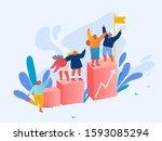 teamwork and leadership concept.... | Shutterstock .eps vector #1593085294