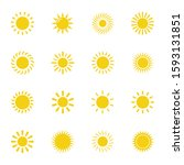 yellow sun icon vector isolated ... | Shutterstock .eps vector #1593131851