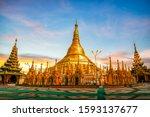 Shwedagon Pagoda At Sunset....