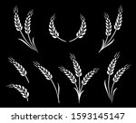 abstract wheat ears icon logo... | Shutterstock . vector #1593145147