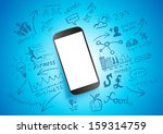 Mobile Productivity. Modern mobile device with communication doodles. - stock vector