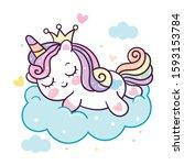 cute unicorn vector pony...   Shutterstock .eps vector #1593153784