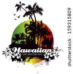 hawaiian grunge summer scene... | Shutterstock .eps vector #159315809