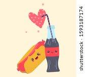 kawaii fast food couple hotdog...   Shutterstock .eps vector #1593187174