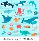 Sea Animals Vector Cartoon...
