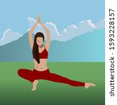 woman practice yoga on a... | Shutterstock .eps vector #1593228157