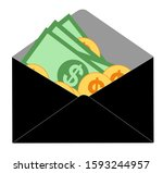 wage in envelope  cash salary... | Shutterstock .eps vector #1593244957