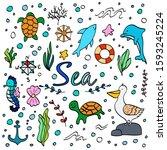 set of cute sea animals doodle... | Shutterstock .eps vector #1593245224