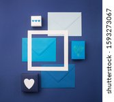 blue envelopes  gifts and white ... | Shutterstock . vector #1593273067