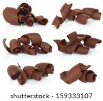 chocolate shavings set on white ... | Shutterstock . vector #159333107