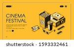 cinema festival isometric... | Shutterstock .eps vector #1593332461