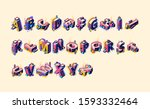 isometric alphabet in colorful... | Shutterstock .eps vector #1593332464