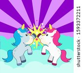 cute unicorn bff high five... | Shutterstock .eps vector #1593372211