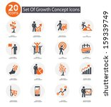 Growth concept icons,Orange version,vector