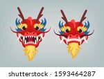 red oriental dragon head with... | Shutterstock .eps vector #1593464287