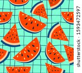 watermelon background with... | Shutterstock .eps vector #1593472597