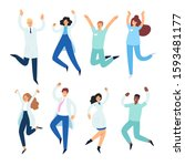 set of happy male and female... | Shutterstock .eps vector #1593481177