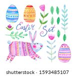 watercolor elements easter... | Shutterstock . vector #1593485107